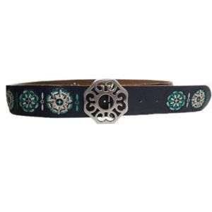 Lucky Brand Blue Embroidered Leather Belt Med